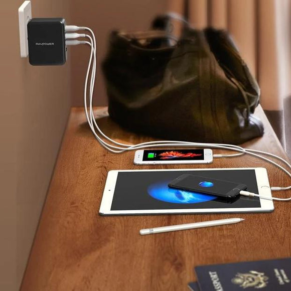 RAVPower - Wall Charger - 40W - 4-Port - بلاك حائط شحن - راف باور - 4 مخارج - كفالة 18 شهر