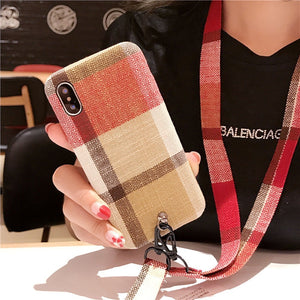 Brown and Red Case with Lanyard - كفر مع خيط علاقة