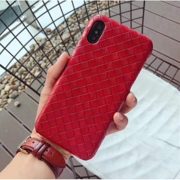 Red - Bottega Leather Case - احمر