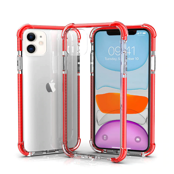 Red Hybrid Shockproof TPU Clear Case