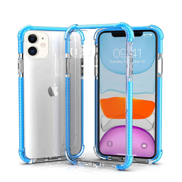 Sky Blue Hybrid Shockproof TPU Clear Case
