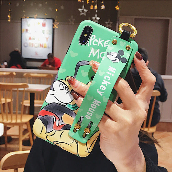 Green Mickey Cartoon Case with Strap - كفر مع مسكة شريطة
