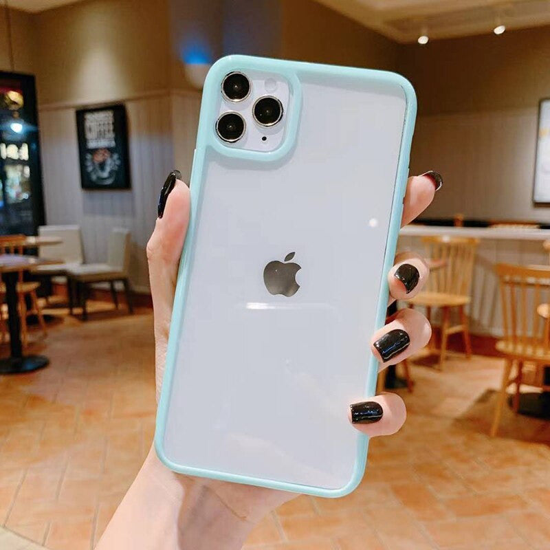 Light Blue Clear Bumper Phone Case Soft Full Body