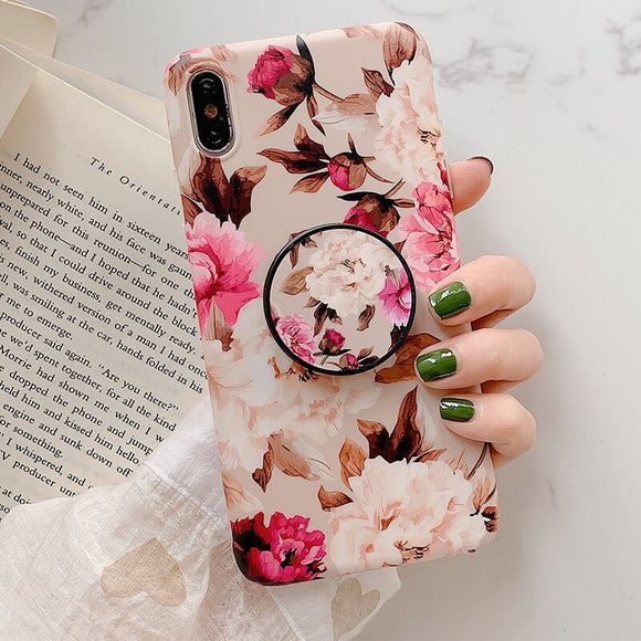 Flower Leaves Holder Phone Case With Grip - T5 - كفر مع مسكة دائرية