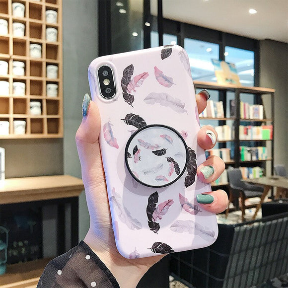 Flower Leaves Holder Phone Case With Grip - T6 - كفر مع مسكة دائرية