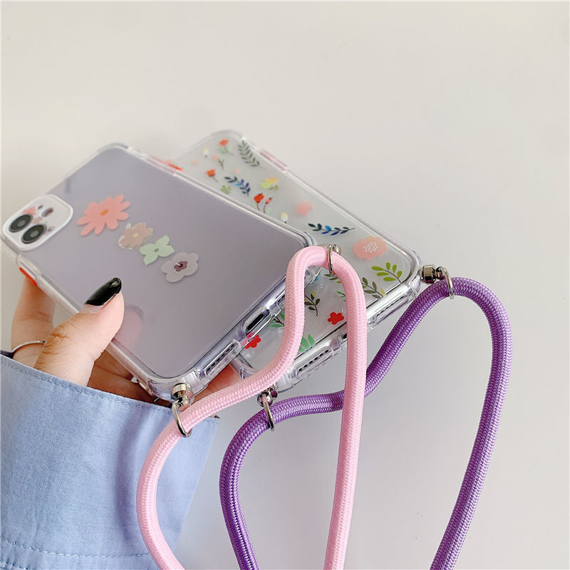 Flower Leaf Crossbody Phone Case - كفر مع خيط علاقة