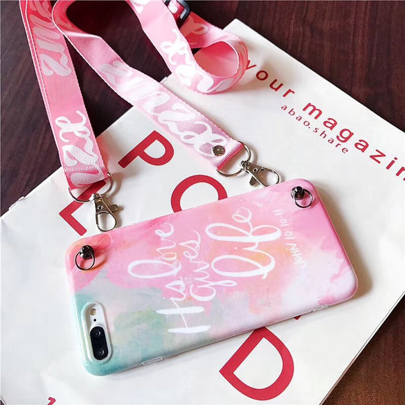 Mix Pink Color Case with Lanyard - كفر مع خيط علاقة