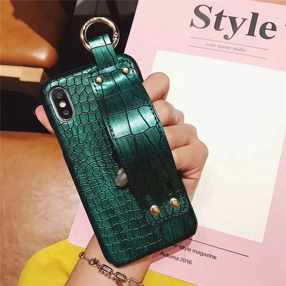 Green Crocodile Skin Case with Strap - كفر مع مسكة شريطة