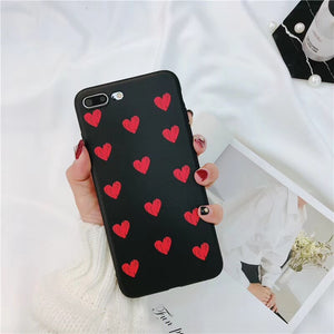 Black Case Red Hearts