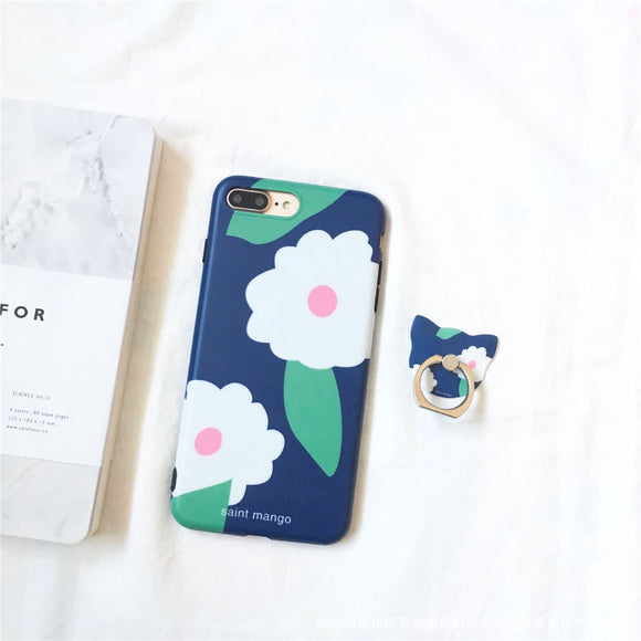 Navy White Flower Case With Ring
