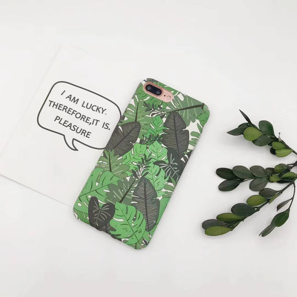 Green Flower Case with Dark Green Leaf