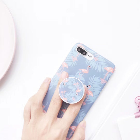 Light Blue Flamingo Case with POP Grip - كفر مع مسكة دائرية