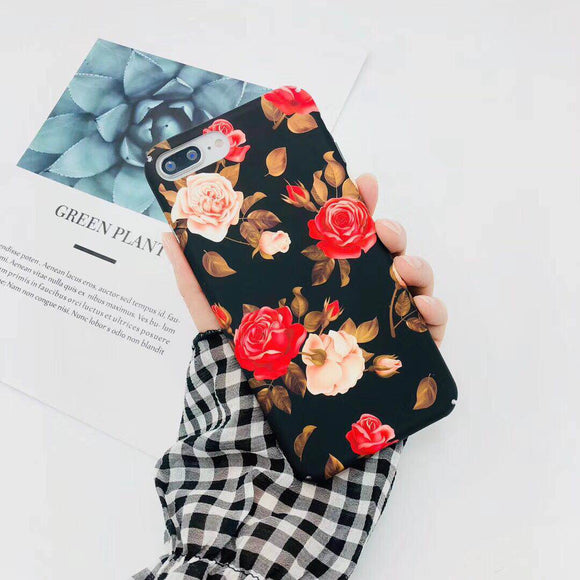 Black Flower Case with Red & Off-Whit Rose