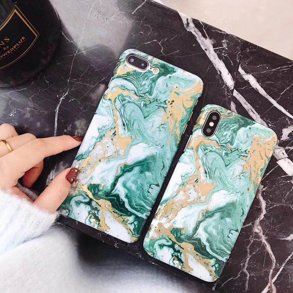 Green Marble Case with Gold Lines - اخضر