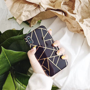 Black Case with Gold Lines Shape