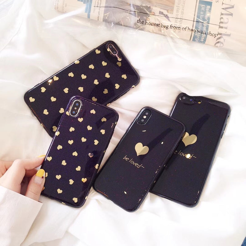 Black Case with Gold Hearts