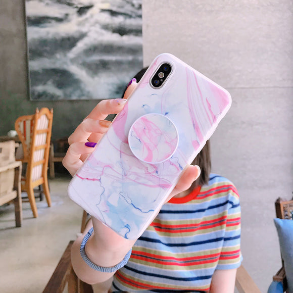 White Marble Case with Pink Lines with POP Grip - كفر مع مسكة دائرية