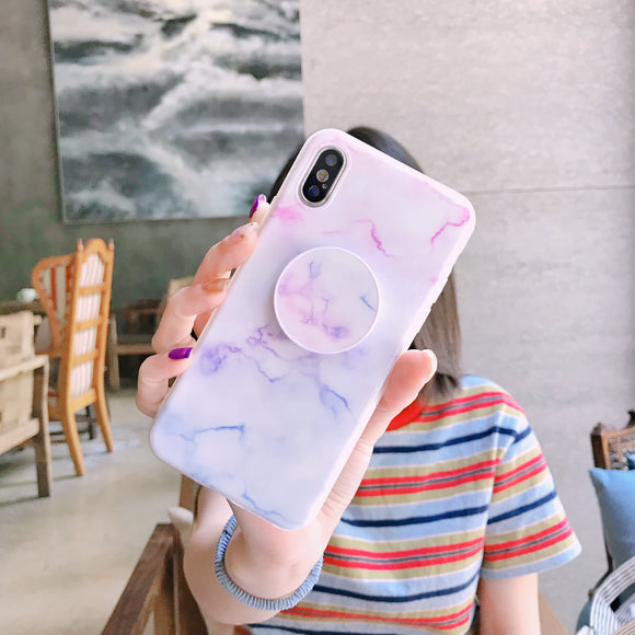 White Marble Case with Lines with POP Grip - كفر مع مسكة دائرية