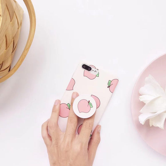 Light Pink Apple Case with POP Grip - كفر مع مسكة دائرية