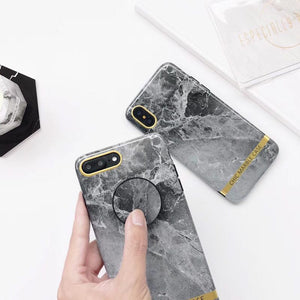 Dark Grey Marble Case with POP Grip - كفر مع مسكة دائرية