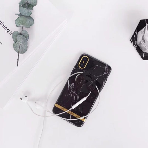 Black Marble Chic Case with POP Grip - كفر مع مسكة دائرية