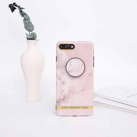 Pink Chic Marble Case with POP Grip - كفر مع مسكة دائرية
