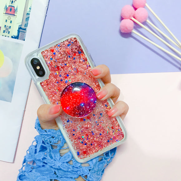 Red Glitter Water Case with POP Grip - كفر مع مسكة دائرية