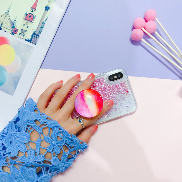 Pink Glitter Water Case with POP Grip - كفر مع مسكة دائرية