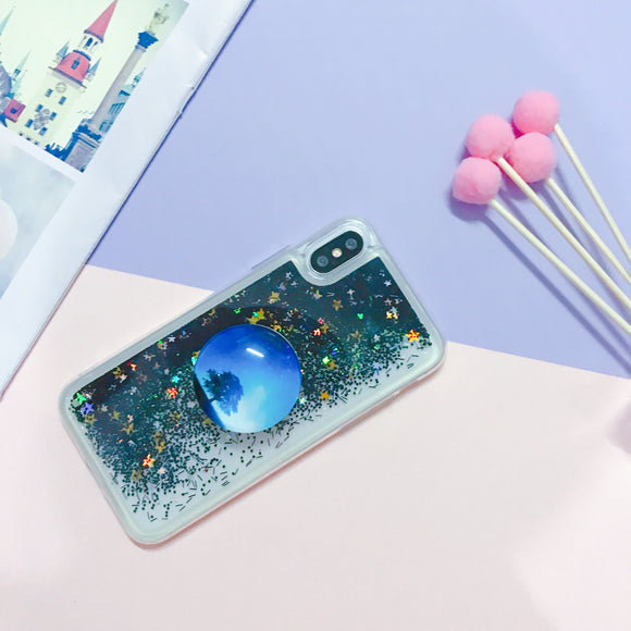 Dark Glitter Water Case with POP Grip - كفر مع مسكة دائرية