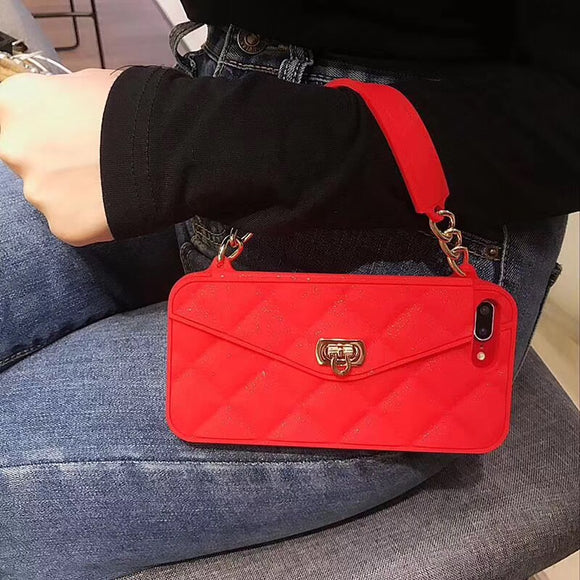 Red Wallet Case with Chain