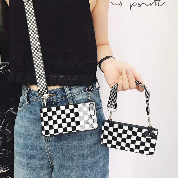Black and White Square Case with Lanyard - كفر مع خيط علاقة