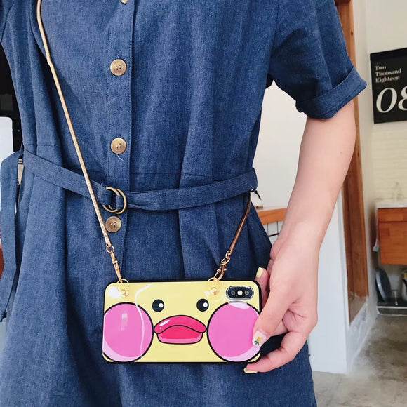 Yellow Pink Cartoon Case with Lanyard - مع سلسلة علاقة