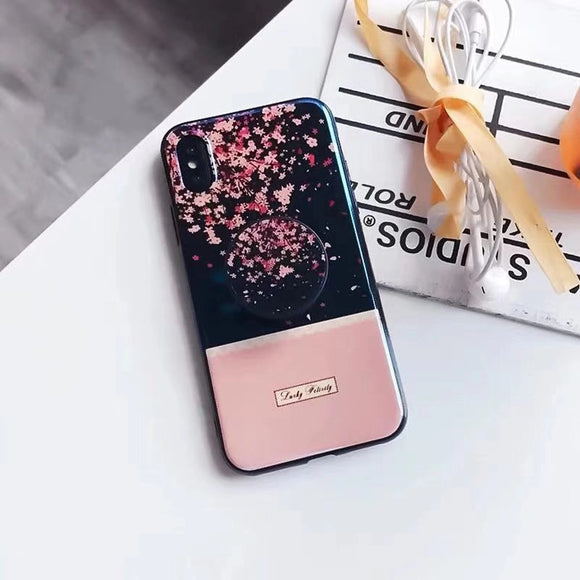 Pink Small Flowers Case with POP Grip - كفر مع مسكة دائرية