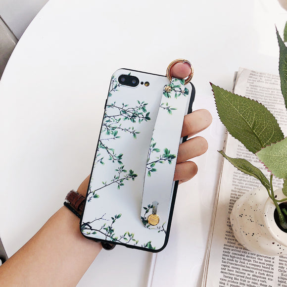 Light Green Flower Case with Strap - كفر مع مسكة شريطة