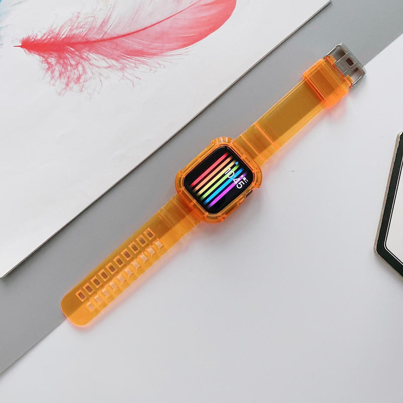 Green Ultra Transparent Band with Case - Apple Watch - Orange - سير ساعة ابل ووتش مع اطار حماية
