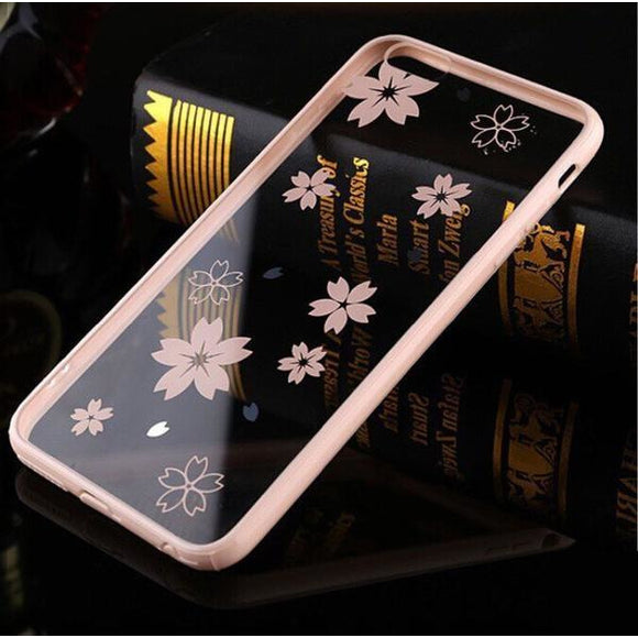 Transparent Pink TPU Case Flower