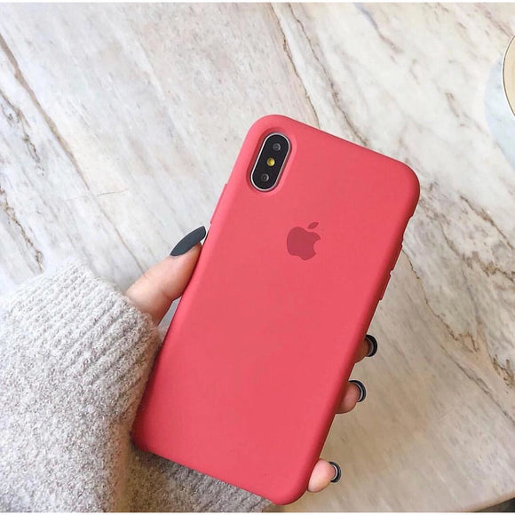 Dark Pink Plain Silicon Case - وردي داكن