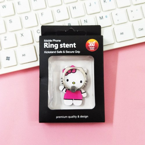 White and Pink Hello Kitty Cartoon Ring - مسكة خاتم