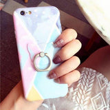 Light Blue - Pink - Case With Ring - كفر مع مسكة خاتم