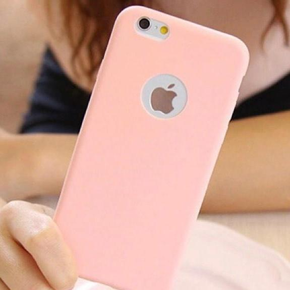 Pink Plain Case with Apple Circle