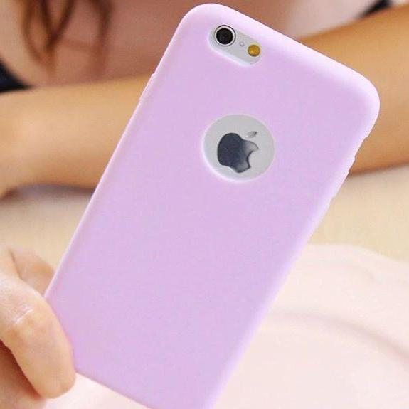 Purple Plain Case with Apple Circle