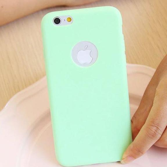 Green Plain Case with Apple Circle