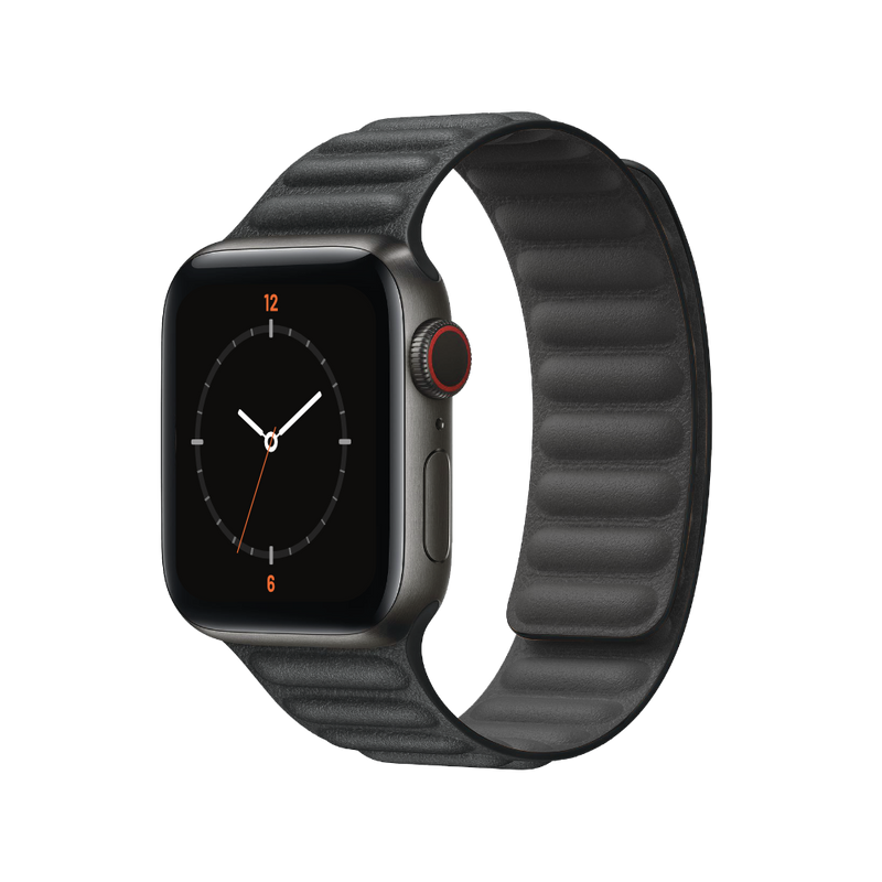 Porodo iGuard Premium Leather Adjustable for Apple Watch - Black - سير لساعة ابل ووتش