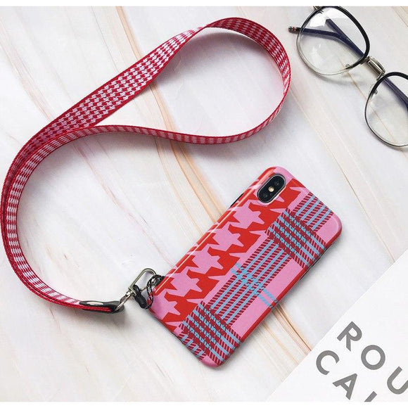 Dark Light Pink Lines with Lanyard - كفر مع خيط علاقة