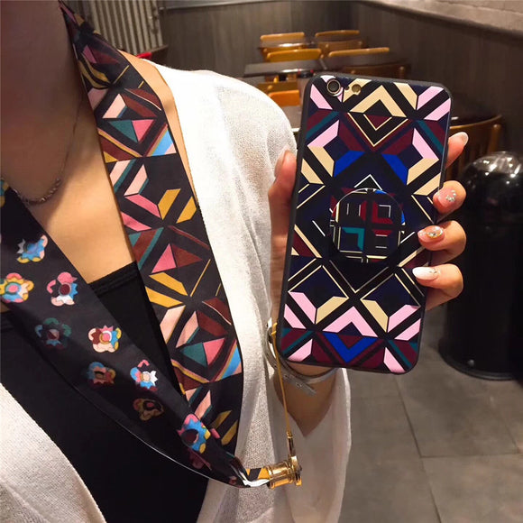 Dark Pink Geometric Case with POP Grip - كفر مع مسكة دائرية