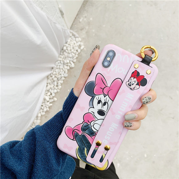 Pink Minnie Cartoon Case with Strap - كفر مع مسكة شريطة