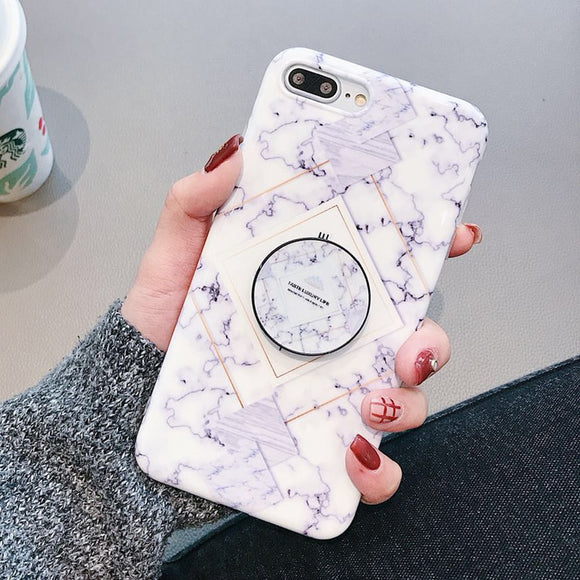 White Light Blue Vintage Marble Case with POP Grip - كفر مع مسكة دائرية