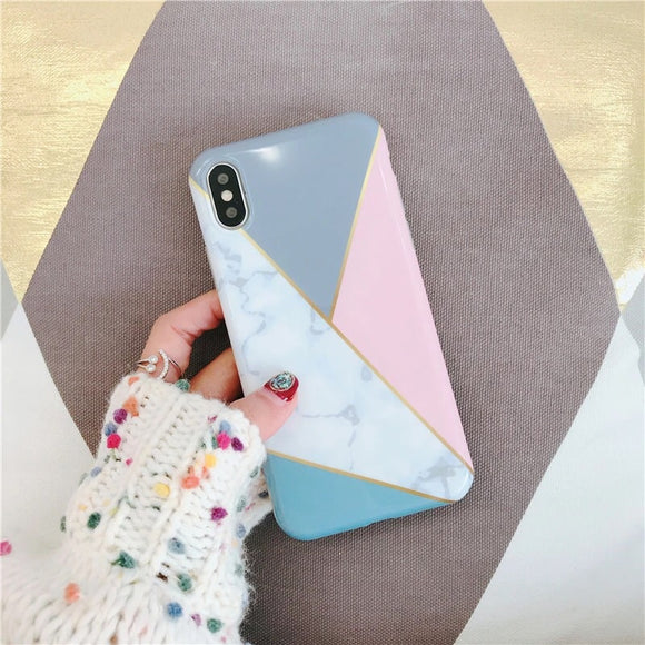 Marble White Triangle Case with Grey and Pink