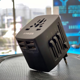 Anker Universal Travel Adapter With 4USB Ports - بلاك حائط دولي للسفر - انكر - 4 مخارج - كفالة 18 شهر