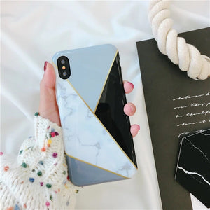 Marble White Triangle Case with Grey and Black